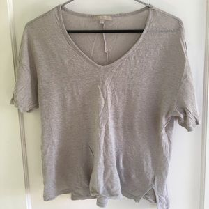 Joan Vass crepe-y taupe v-neck tee
